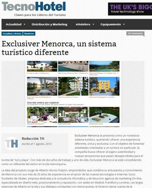 Artículo Tecnohotel sobre Exclusiver